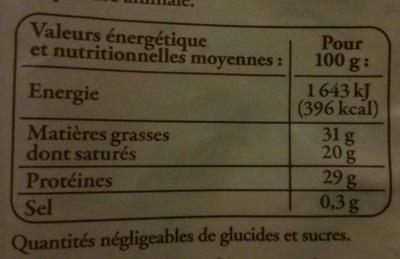 Emmental de Savoie râpé au lait cru - Nutrition facts