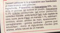 Le tiramisu aux framboises - Ingredients - fr