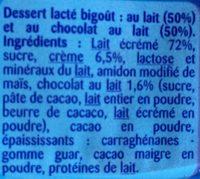 Crème dessert Duo choco lait - Ingrediënten