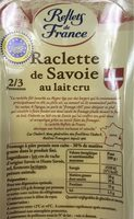 Raclette de Savoie au Lait Crû (30% MG) - Informations nutritionnelles