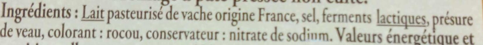 Mimolette vieille fabriquée en Normandie - Ingrédients
