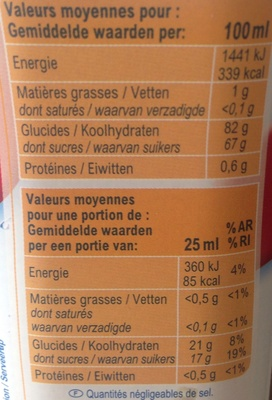 Sirop cerise - Valori nutrizionali - fr