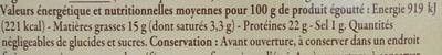 Sardines de Bretagne préparées à l'ancienne à l'huile d'olive vierge extra - Nutrition facts - fr