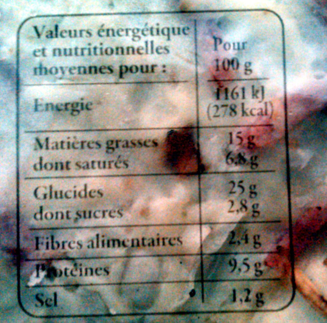 2 Flammekueches - Información nutricional - fr