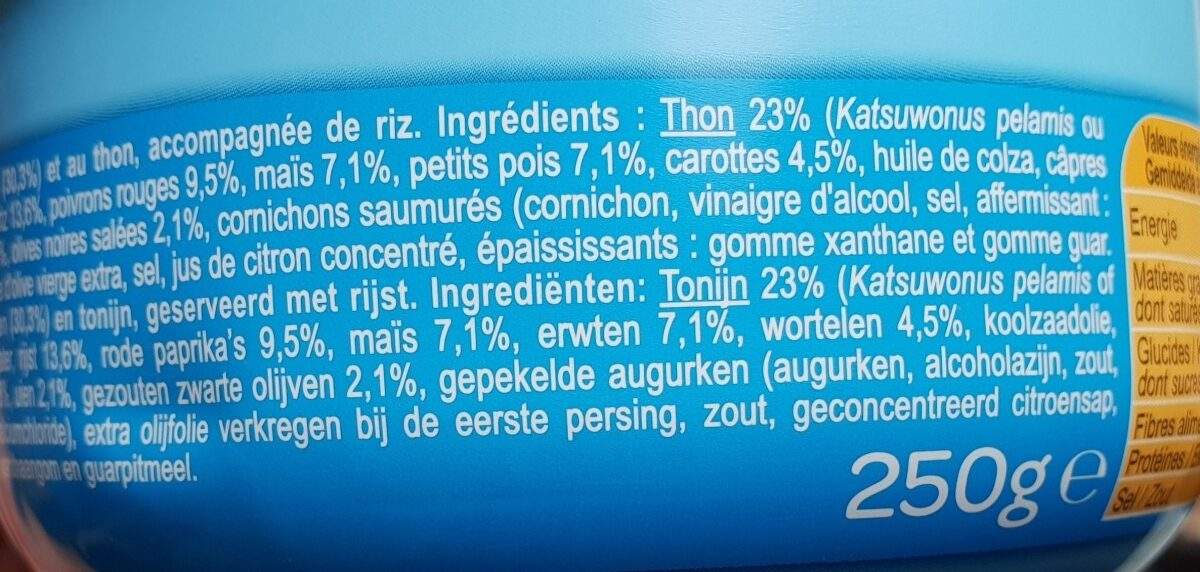 Salade aux légumes au Thon et au riz - Ingredienti - fr