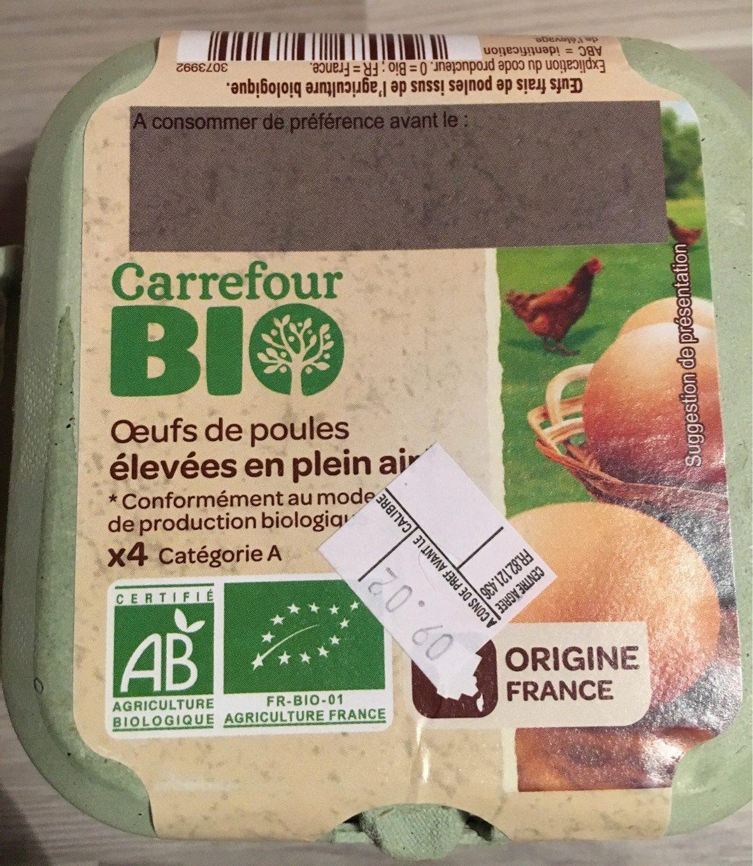 Oeufs de poules élevées en plein air Bio (x 4) - Carrefour Bio - Produit - fr