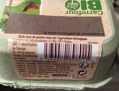 Oeufs de poules élevées en plein air Bio (x 4) - Carrefour Bio - Ingredients