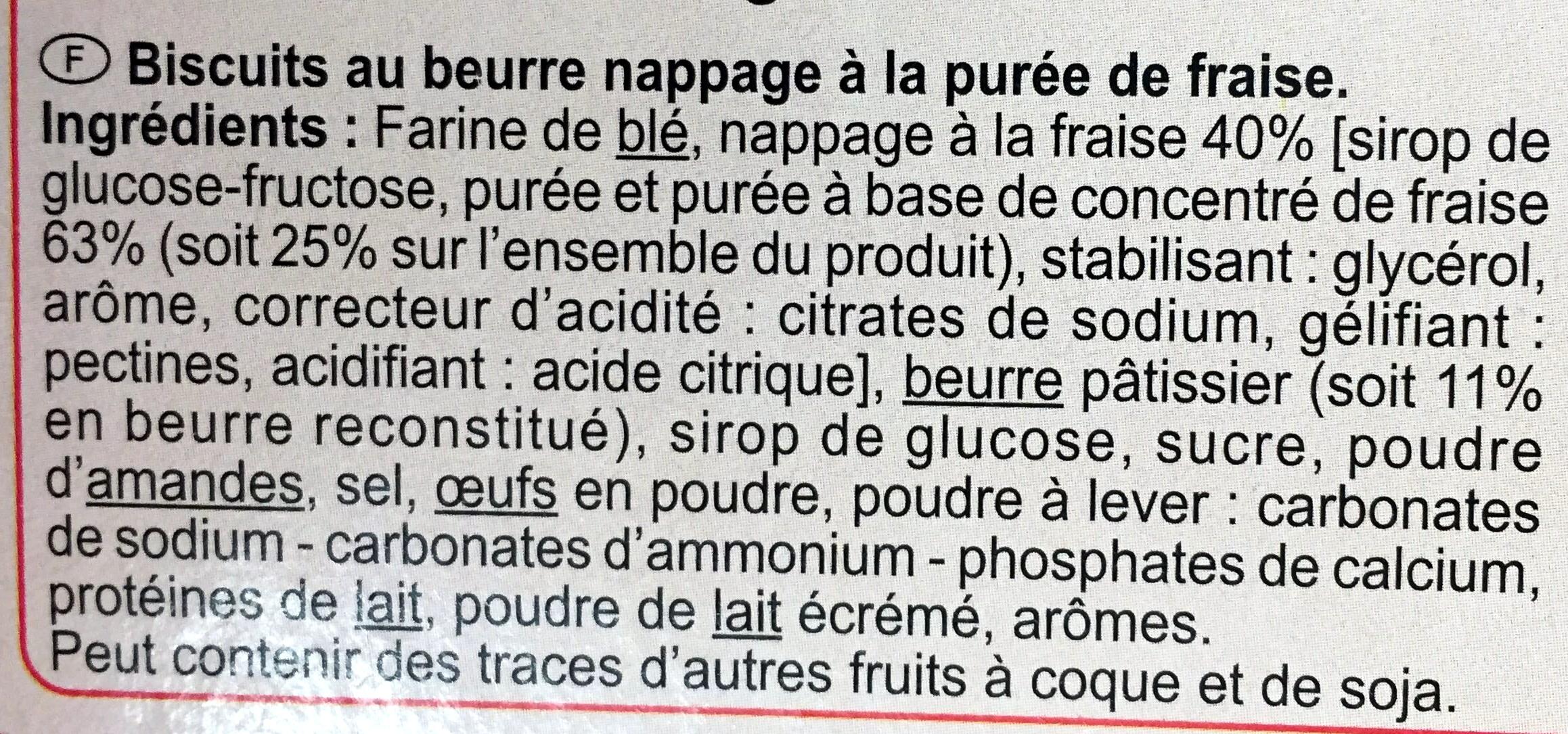 Les  Tartelettes  Carrées Fraise - Ingredientes - fr