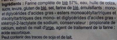 Pain de mie Complet - Extra moelleux - Ingrediënten - fr