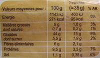 Pain de mie Complet - Extra moelleux - Voedingswaarden - fr