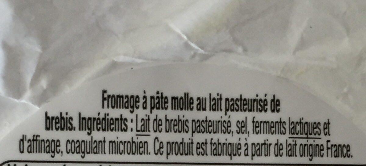 Fromage de Brebis - Ingredients - fr