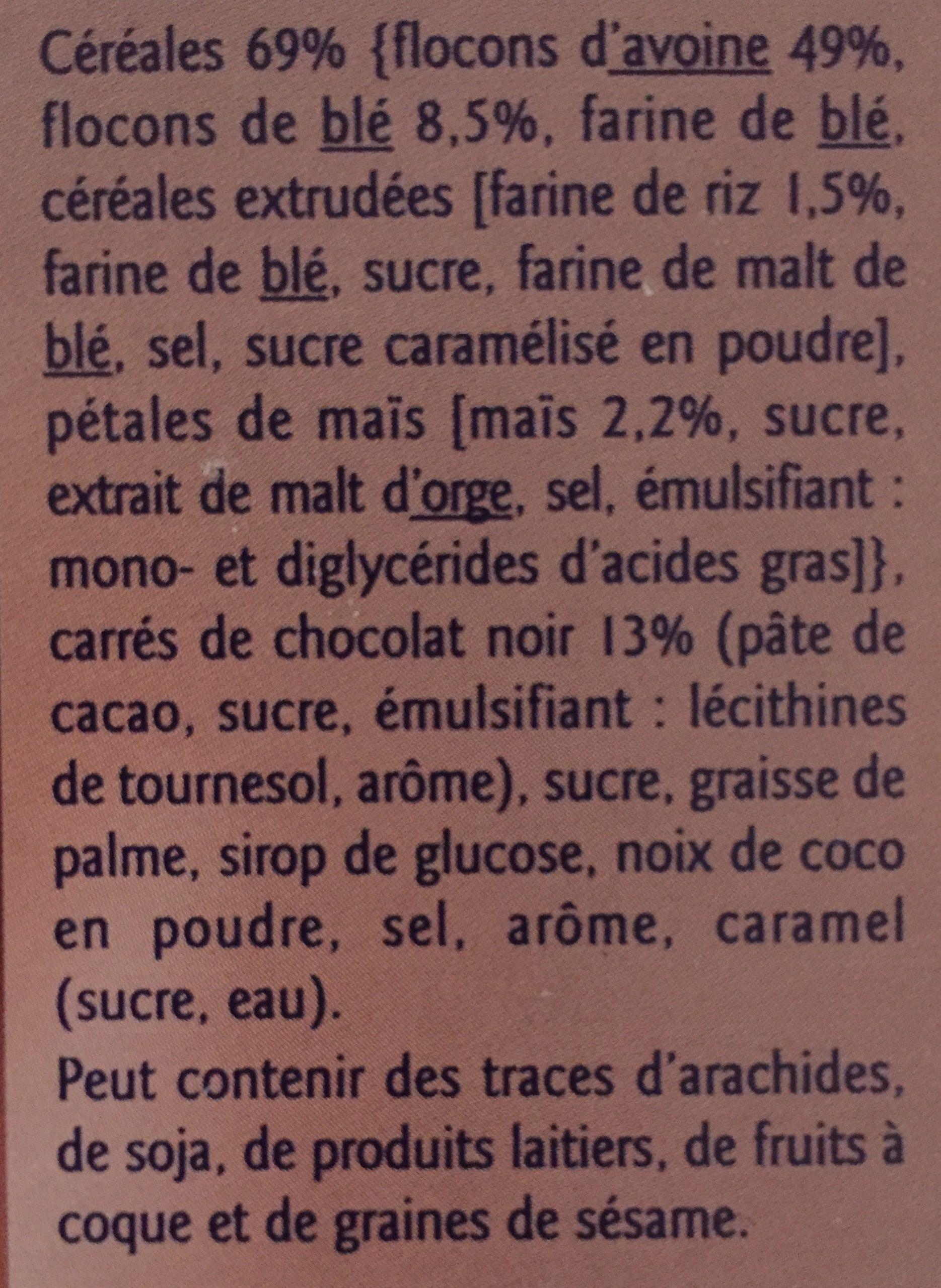 Muesli croustillant au chocolat - Ingredients