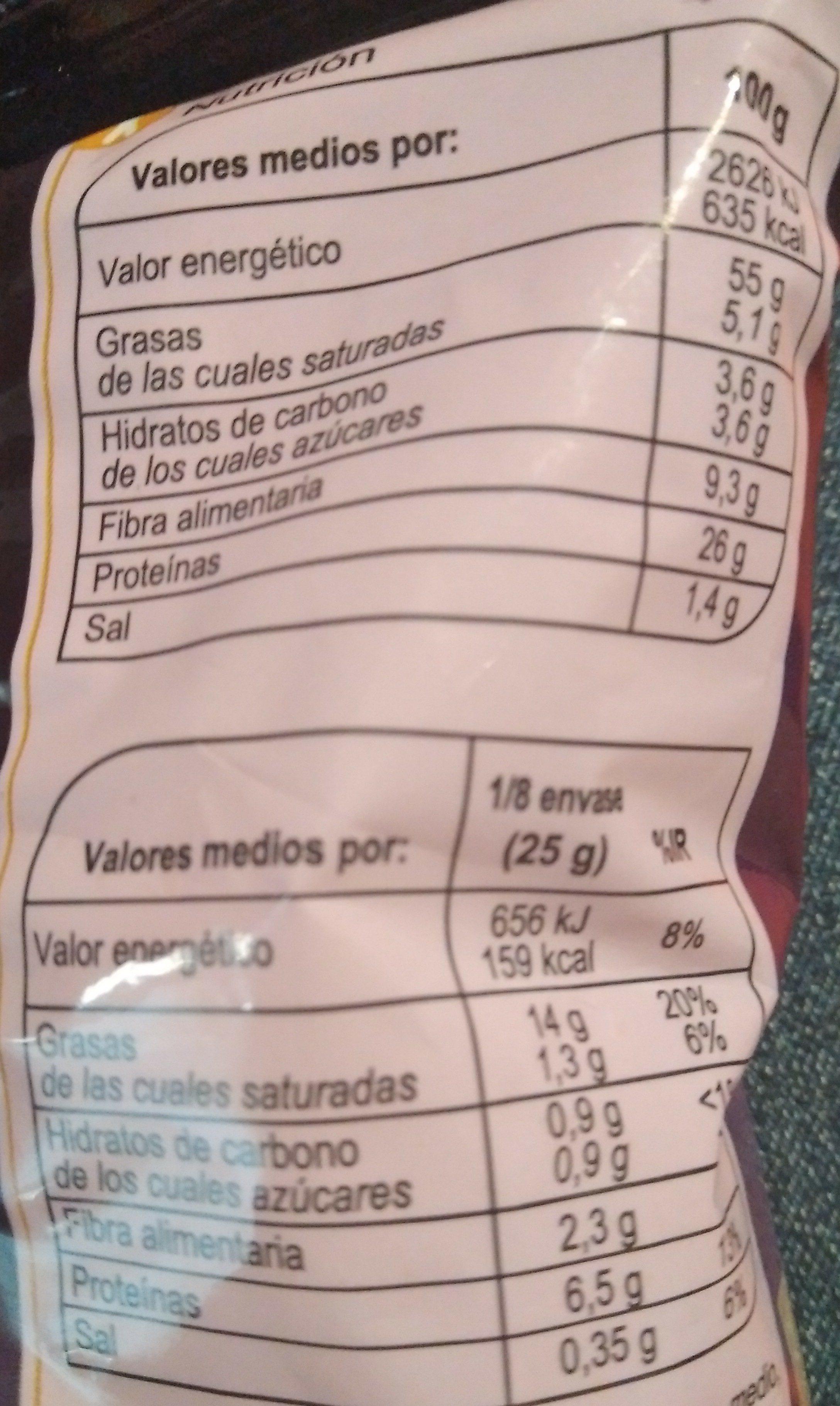 Almendras fritas saladas - Informació nutricional