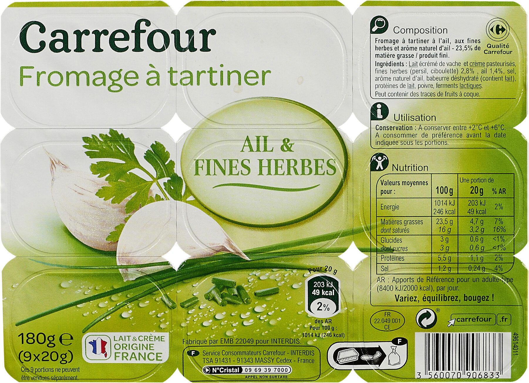 Fromage à tartiner Ail & fines herbes - Product - fr