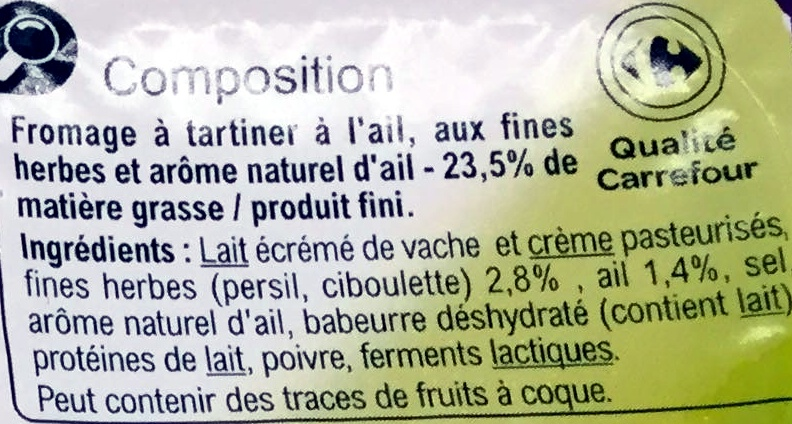 Fromage à tartiner Ail & fines herbes - Ingredients - fr