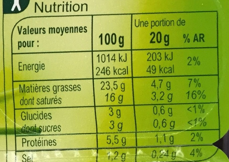Fromage à tartiner Ail & fines herbes - Nutrition facts - fr