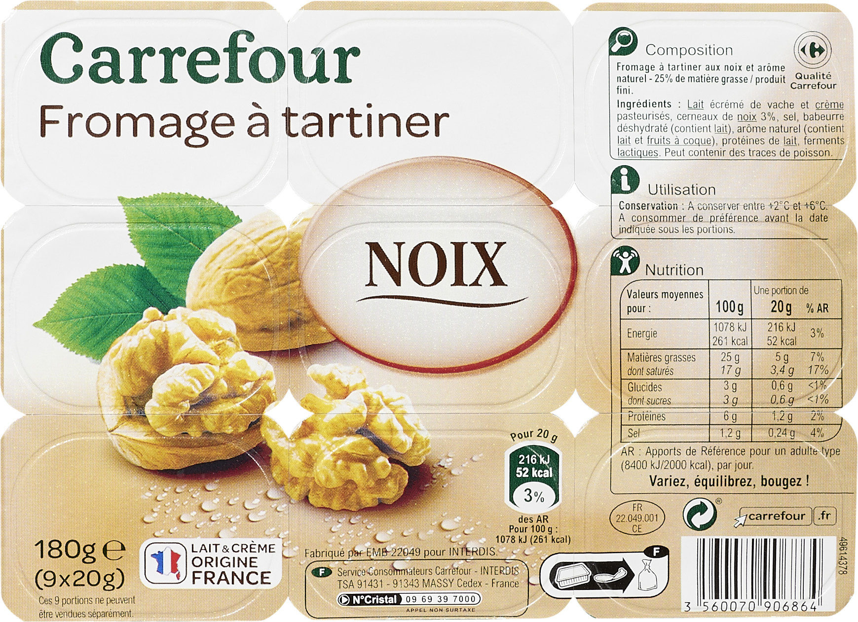 Fromage à tartiner Noix, aromatisé - Product - fr