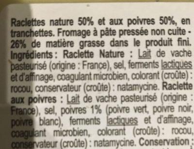 Duo Raclette Classique & poivres - Ingrédients - fr