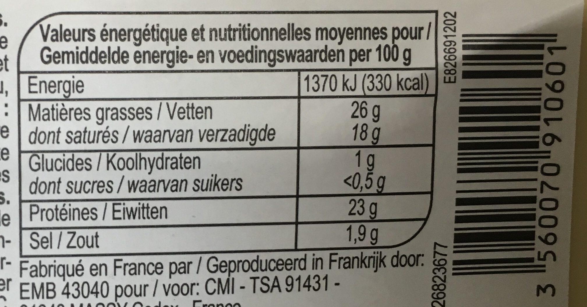 Raclette fumée - Informations nutritionnelles - fr