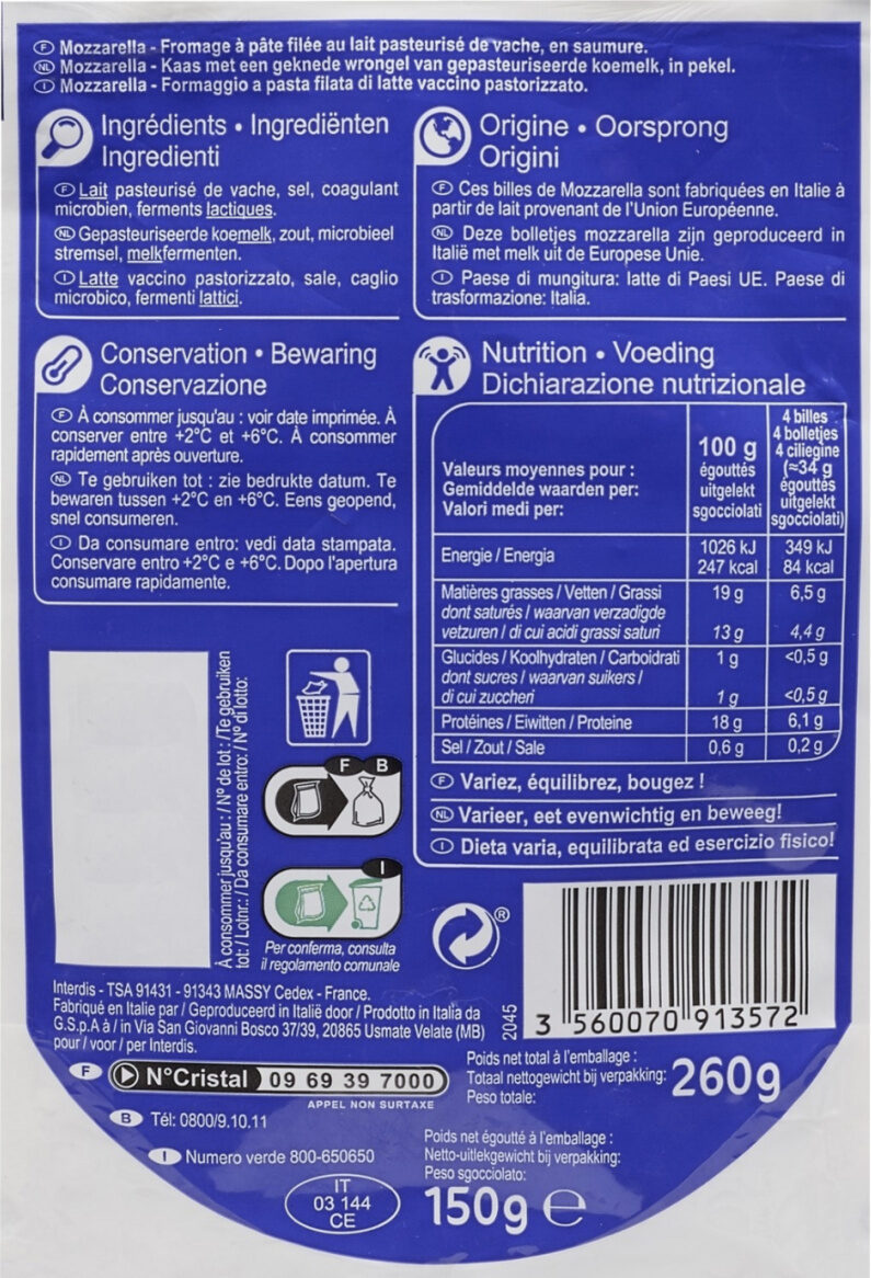 Mini Mozzarella - Informations nutritionnelles - fr