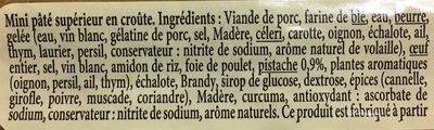Mini Pâté en Croûte Pistaché, Recette du Revermont - Ingrediënten - fr