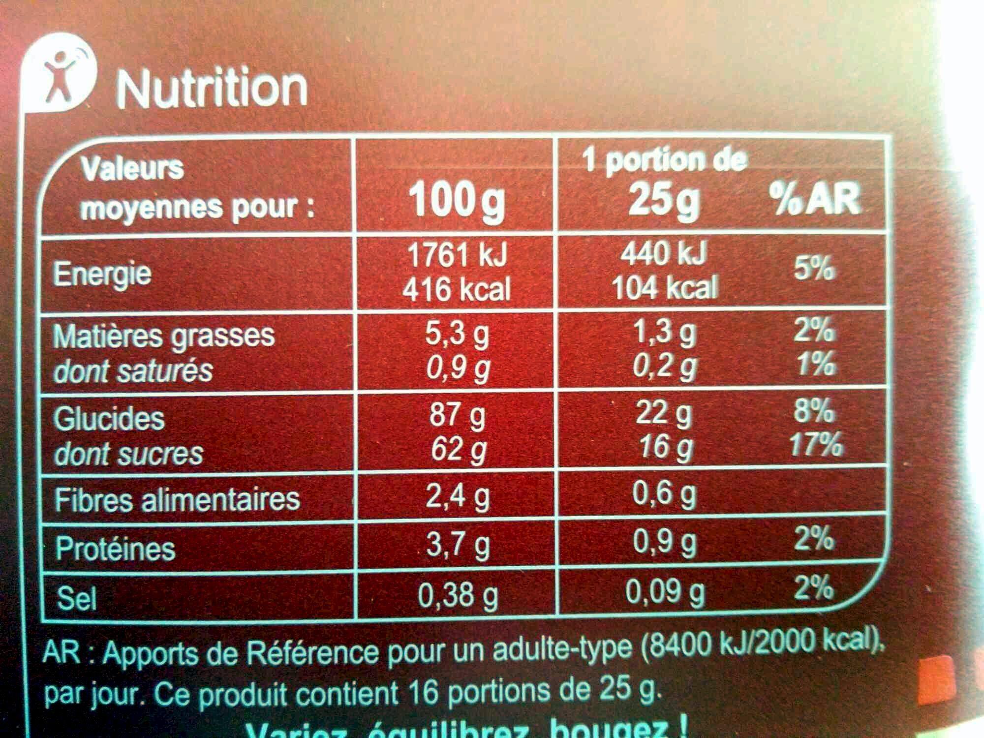 Popcorn caramel - Valori nutrizionali - fr