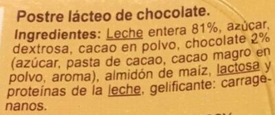 Flan de chocolate - Ingredients