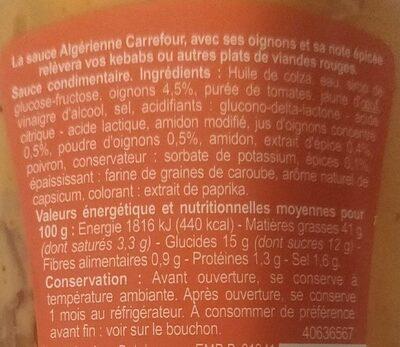 Sauce algérienne - Informations nutritionnelles - fr