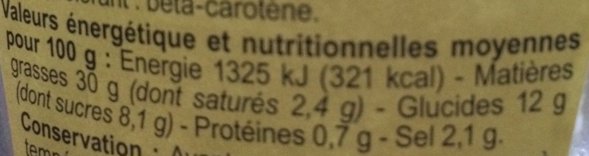 Sauce pomme frite - Nutrition facts