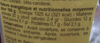 Sauce Pommes-Frites - Nutrition facts - fr