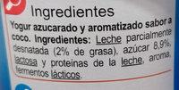 Yogur sabor a coco - Ingredients - es