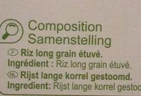 Riz Long Grain - Ingrédients - fr