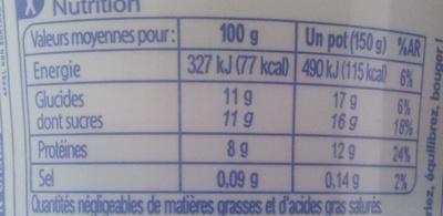 Mon Encas (0 % MG) Fraise - Voedingswaarden - fr