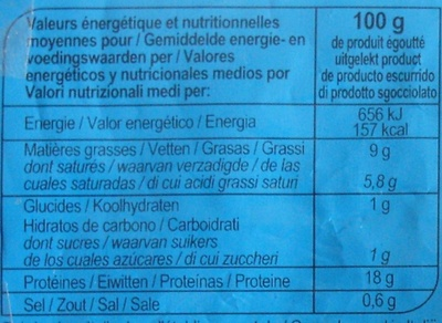 Mozzarella light* (9 % MG) - Informations nutritionnelles - fr