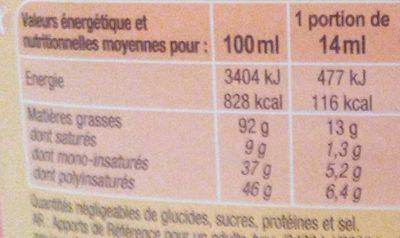 Huile végétale Spéciale Friture - Valori nutrizionali - fr