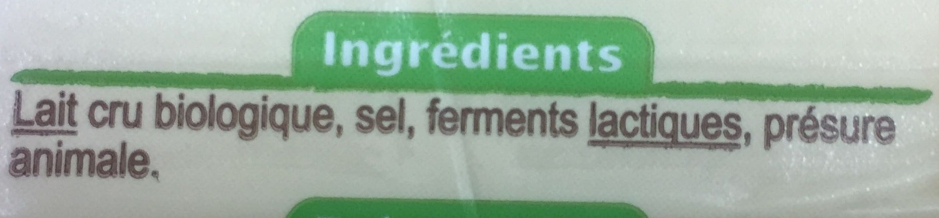 Comté bio - Ingredienti - fr