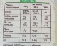 Comté bio - Valori nutrizionali - fr