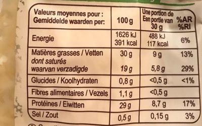 Emmental français râpé au lait cru - Informations nutritionnelles - fr