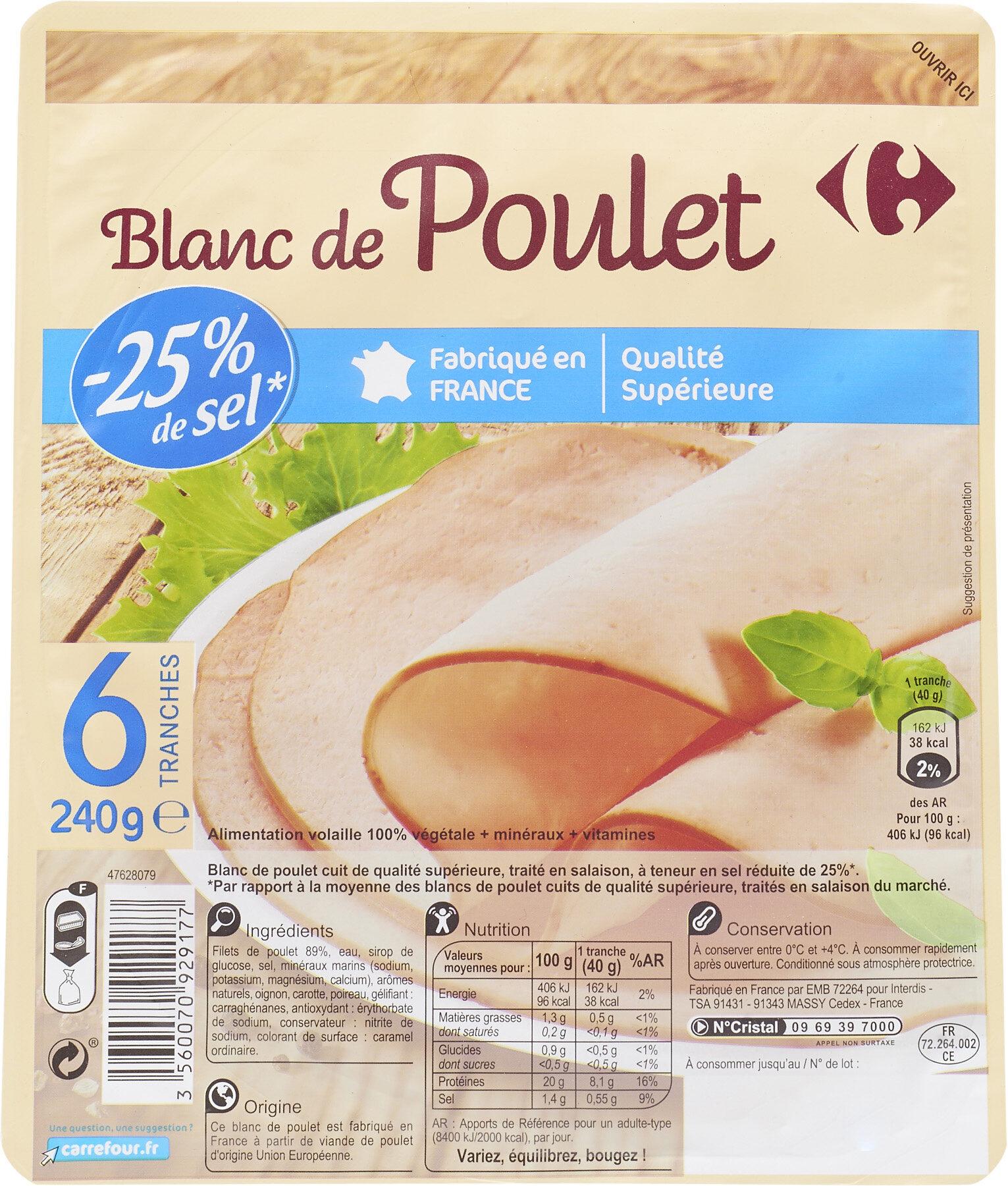 Blanc de Poulet -25% de sel * - Product - fr