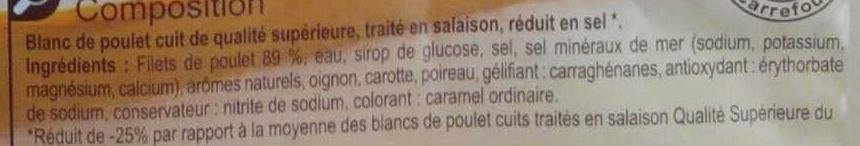 Blanc de Poulet -25% de sel* - Ingrediënten - fr