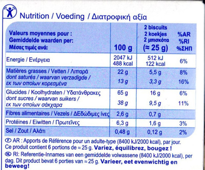 Biscuit tablette - Nutrition facts - fr