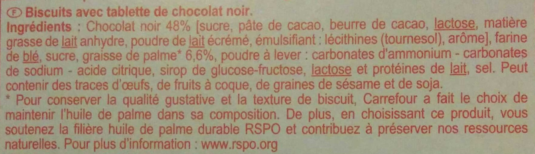 Biscuit tablette - Ingredientes - fr