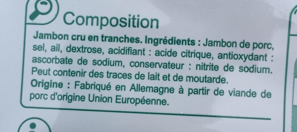 Jambon cru - Ingrédients - fr