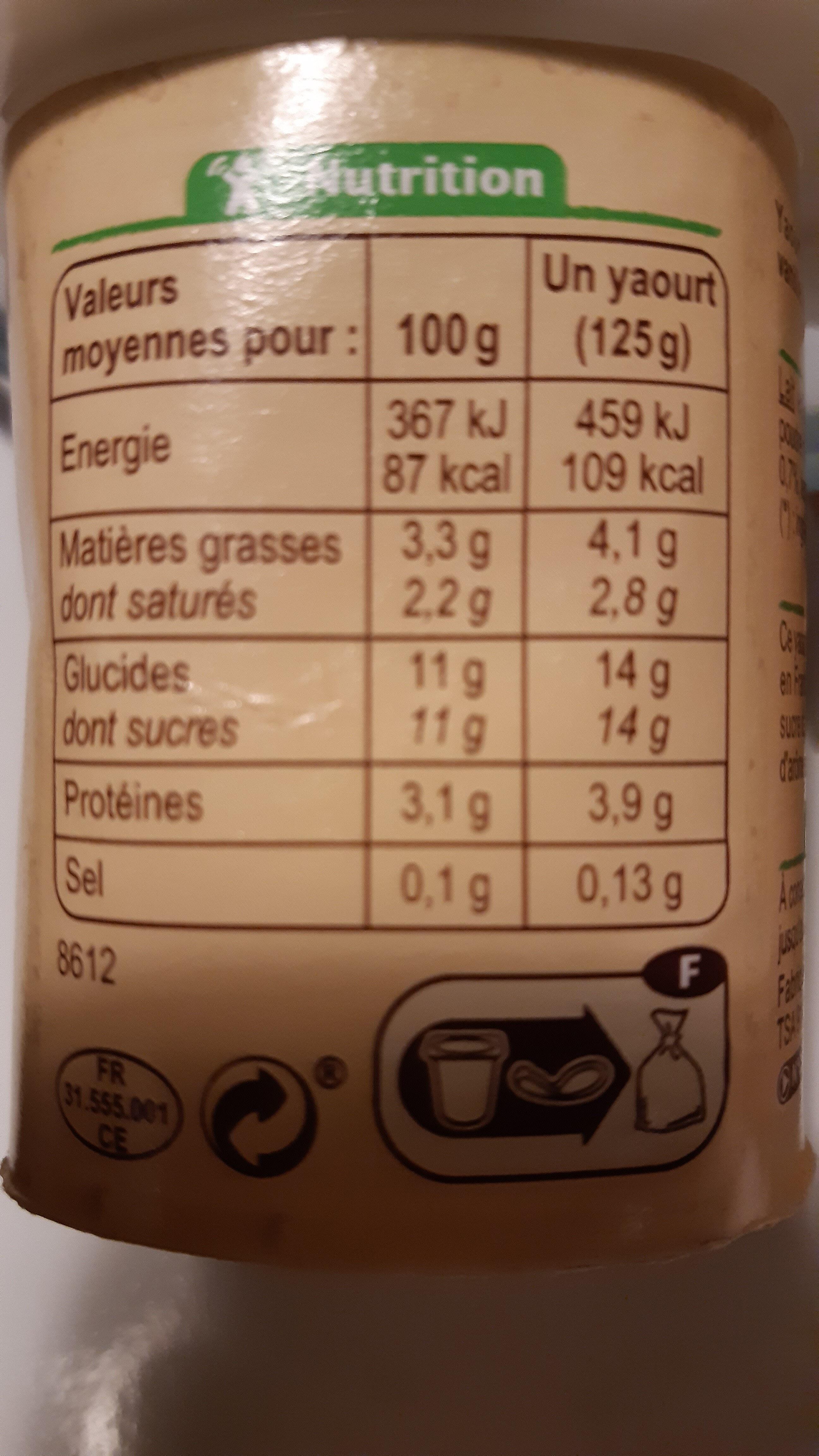 Yaourt au lait entier vanille - Informations nutritionnelles - fr