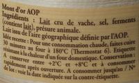 Mont d'Or AOP au lait cru (24% MG) - Ingrédients - fr