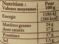 Mont d'Or AOP au lait cru (24% MG) - Informations nutritionnelles - fr