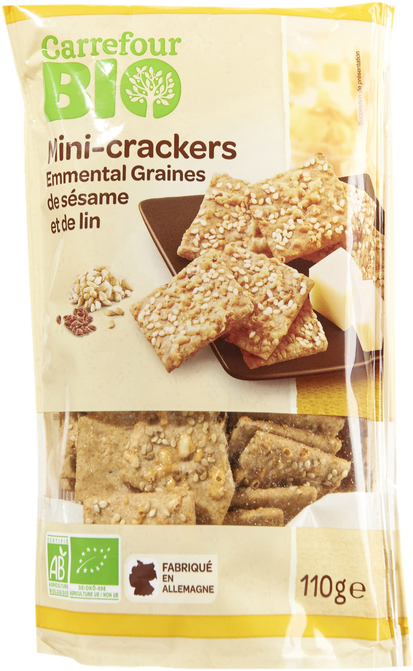 Mini-crackers  Emmental Graines de sésame et de lin - Producte