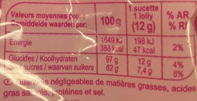Assortiment de sucettes goûs fruits & cola - Informations nutritionnelles - fr