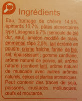 Lasagnes chèvre - épinard A l'emmental râpé - Inhaltsstoffe - fr