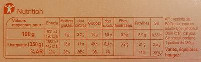 Lasagnes chèvre - épinard A l'emmental râpé - Nährwertangaben - fr
